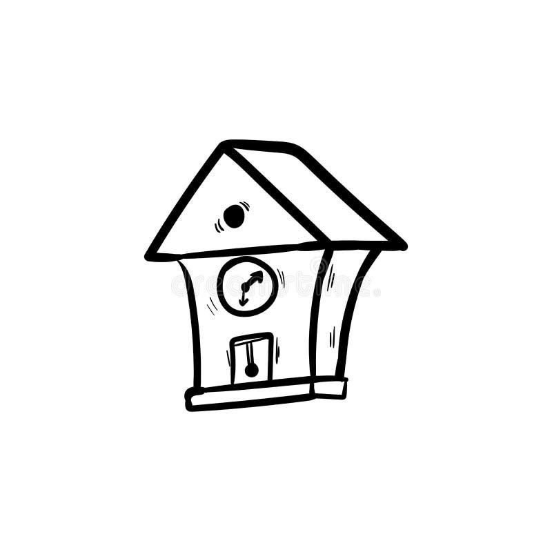 Teckning för hand för klotter för tappningväggklocka stock illustrationer
