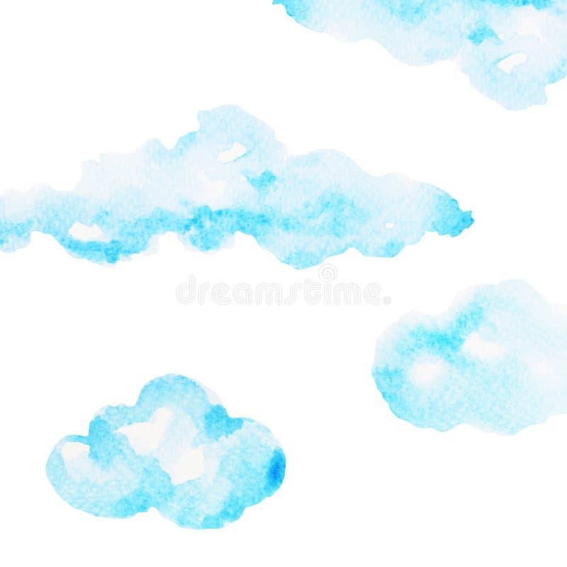 Teckning för hand för molnvattenfärgmålning på pappers- design vektor illustrationer