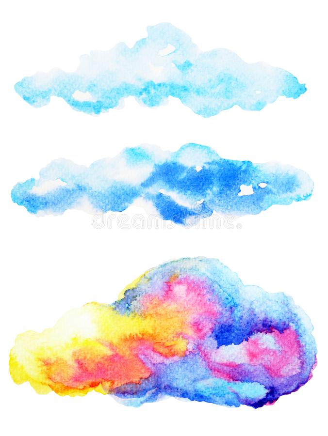 Teckning för hand för molnvattenfärgmålning på pappers- designillustration vektor illustrationer