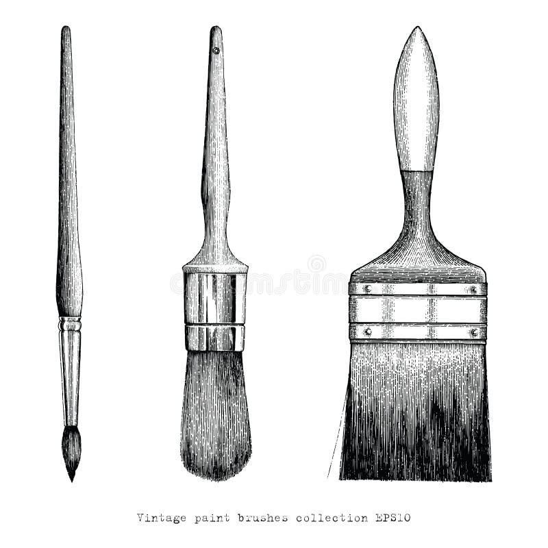 Teckning för hand för samling för tappningmålarfärgborstar royaltyfri illustrationer