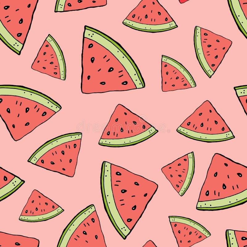 Teckning för hand för vattenmelonskivatecknad film stock illustrationer