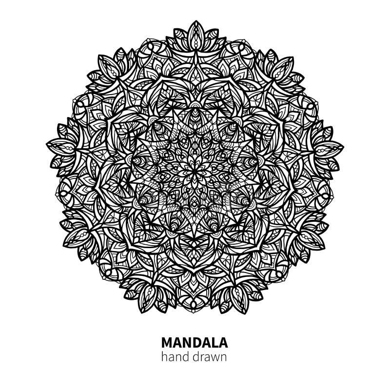 Teckning för Mandalablommavektor Dekorativ bohorundaprydnad Etnisk dekorativ beståndsdel vektor illustrationer