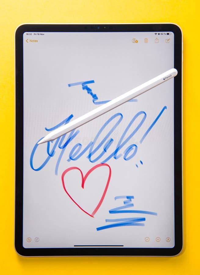 Teckning för minnestavla för minnestavla för ny Apple-datoriPad pro- fotografering för bildbyråer