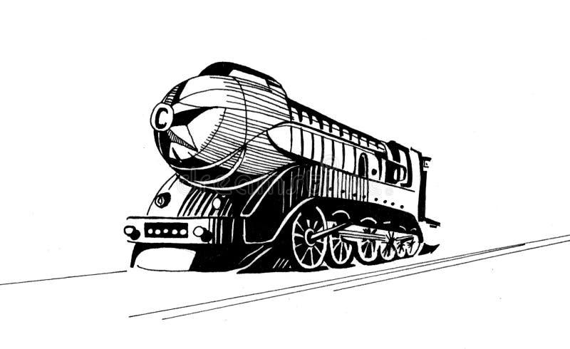 Teckning för raket för ångalokomotiv linjär stock illustrationer