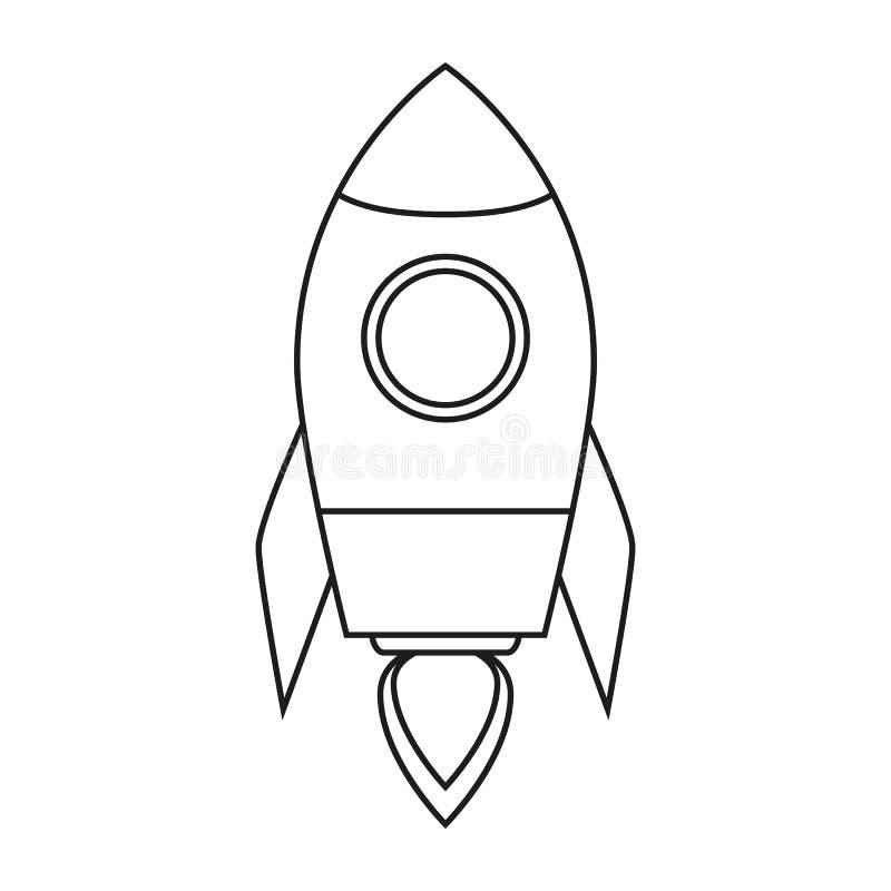 Teckning för raketskeppöversikt som isoleras på vit bakgrund vektor illustrationer