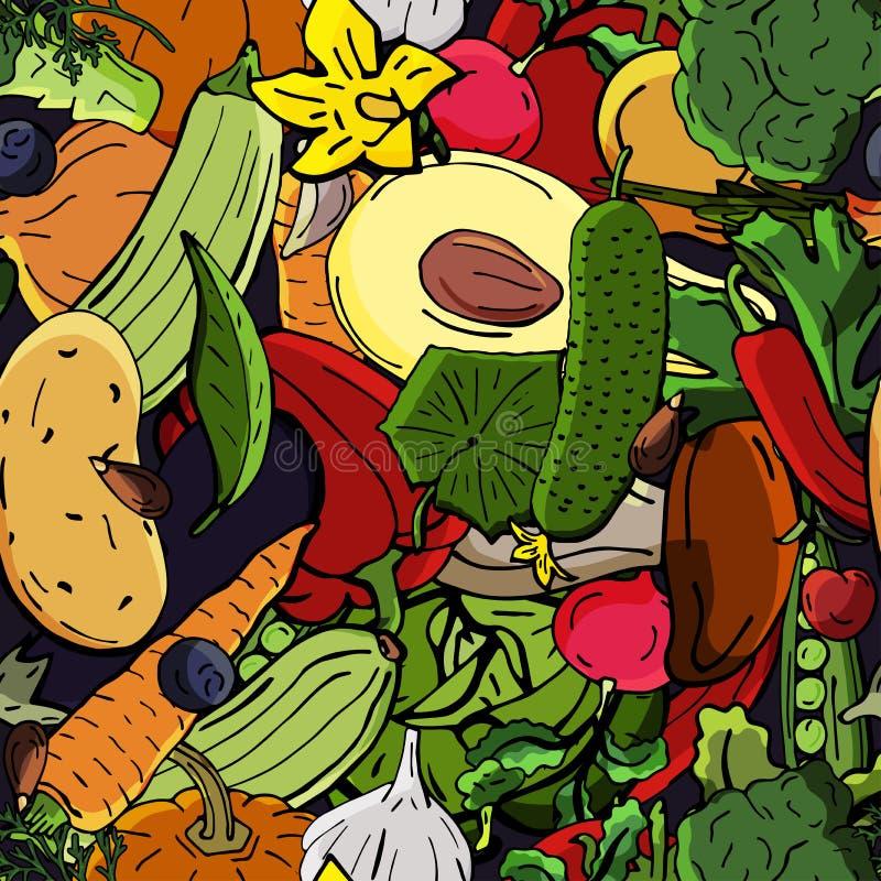 Teckning för sömlös modell för vektor retro av grönsaker Kan användas för webbsidabakgrund, fyller teckningar, tapetserar vektor illustrationer