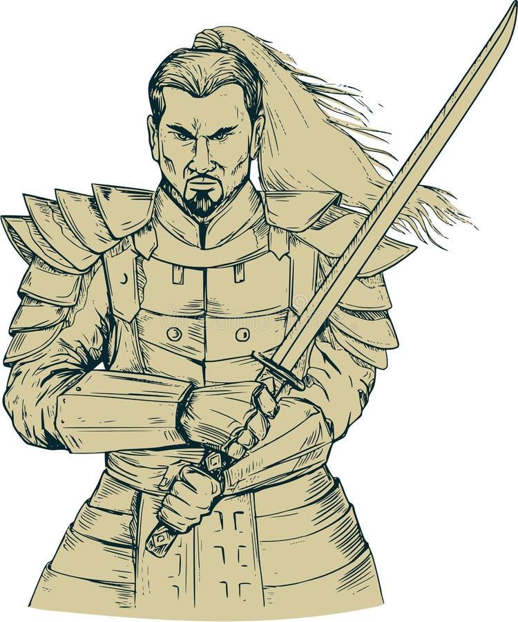 Teckning för samurajkrigareSwordfight slagställning stock illustrationer