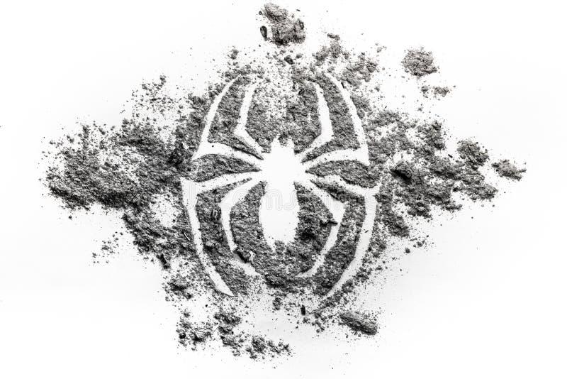 Teckning för spindelkontursymbol som göras i askaen, smuts, damm som s su royaltyfri bild