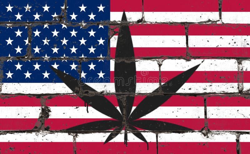 Teckning för sprej för grafittigatakonst på stencilen Cannabisblad på tegelstenväggen med flaggan USA vektor illustrationer