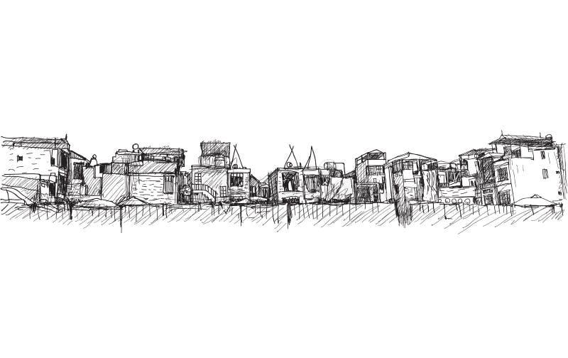 Teckning för stadsscapefria händer, Hanoi stad under konstruktionsområde vektor illustrationer