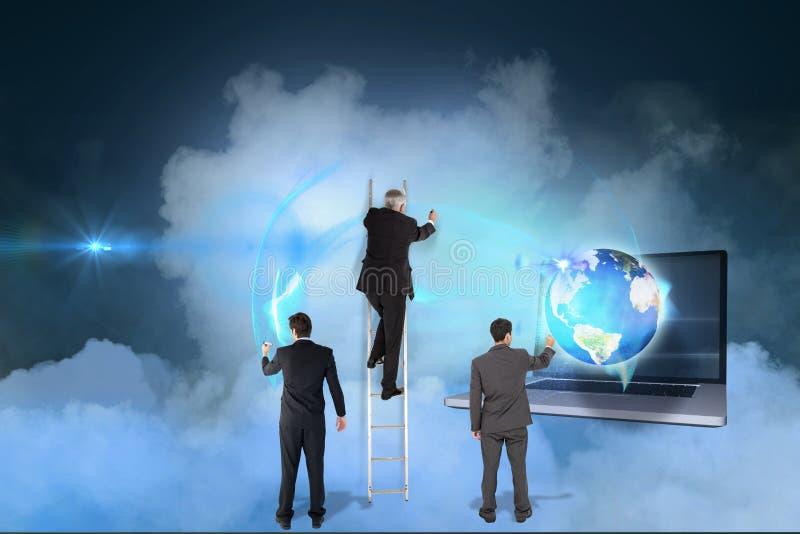 Teckning för tre modeller mot himmelbakgrund royaltyfria foton