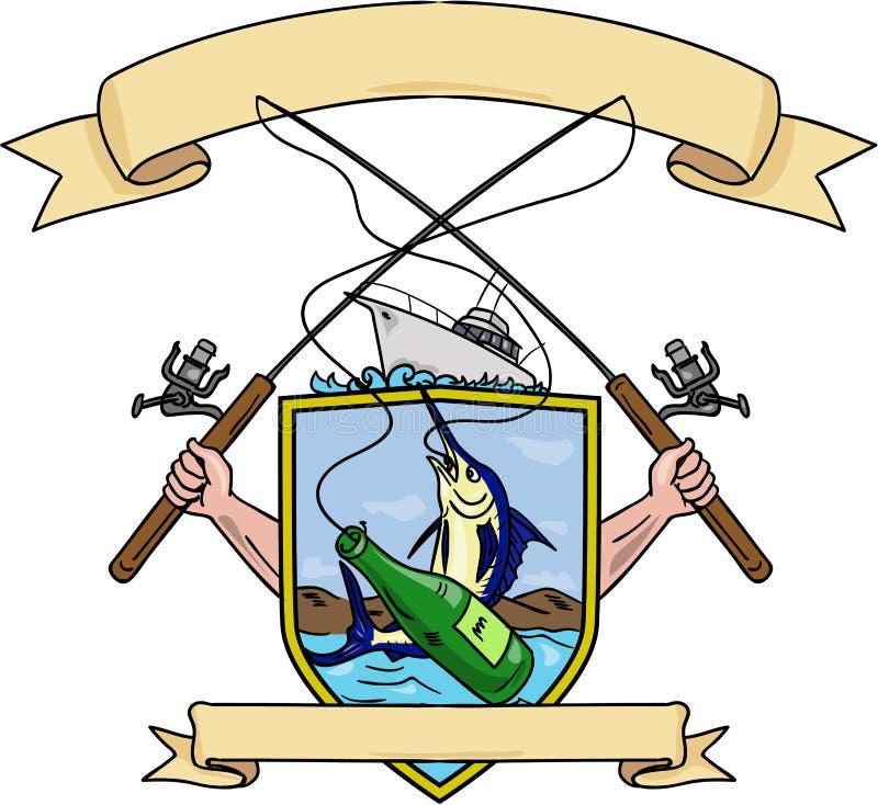 Teckning för vapensköld för fiskeRod Reel Blue Marlin Fish ölflaska stock illustrationer