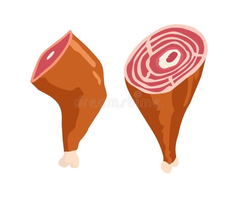 Teckning för vektor för Parma skinka Hand dragen hamonköttillustration Italiensk prosciutto- eller jamontappning skissar Inristad vektor illustrationer
