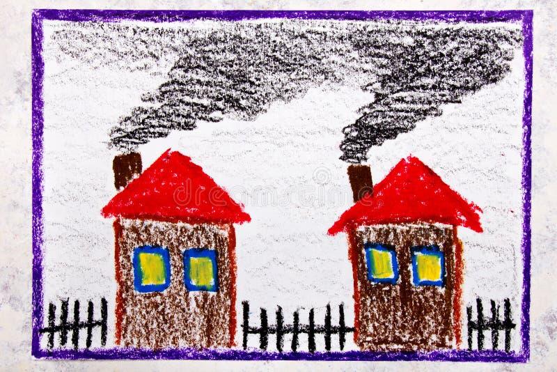 Teckning: hus med rök från lampglaset Problemet av smog och luftförorening royaltyfri fotografi