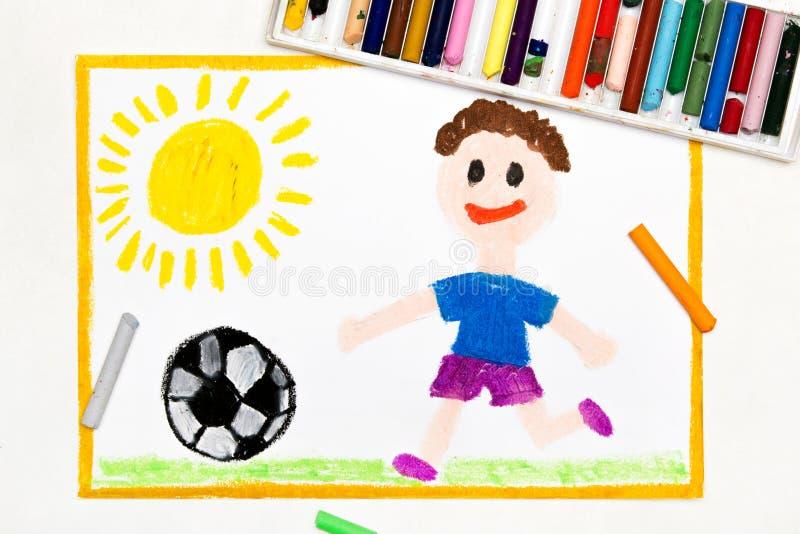 Teckning: le pojken som spelar fotboll royaltyfri illustrationer