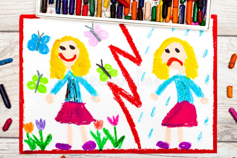 Teckning Motsatser: ledsen och lycklig flicka royaltyfri illustrationer