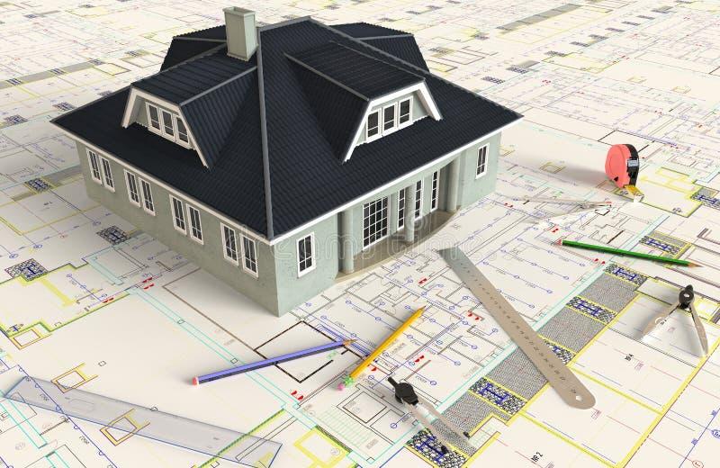 Teckning och orientering för hus arkitektonisk royaltyfri fotografi