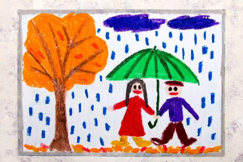Teckning: paret går under paraplyet Regnigt höstväder royaltyfri illustrationer