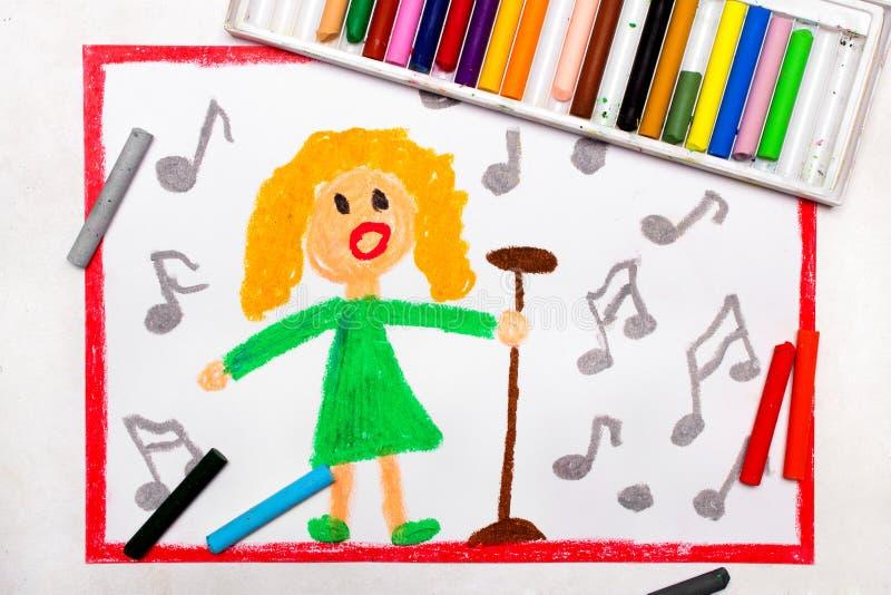 Teckning: Sångare En kvinna som omges av anmärkningsallsånger en sång stock illustrationer