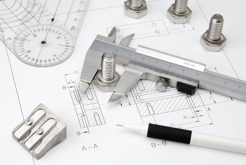 teckning som engineering tekniska hjälpmedel arkivfoto