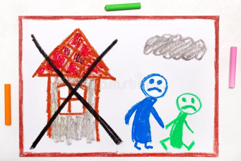 teckning: Två ledsna personer att lämna deras hem vektor illustrationer