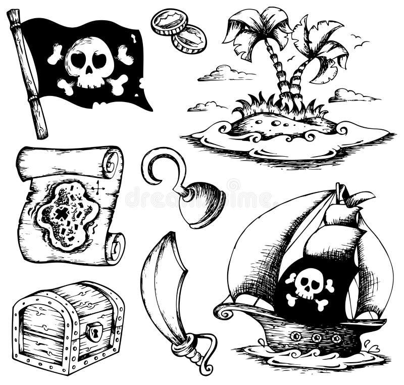 teckningar 1 piratkopierar tema royaltyfri illustrationer