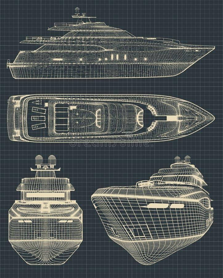 Teckningar av en modern yacht vektor illustrationer
