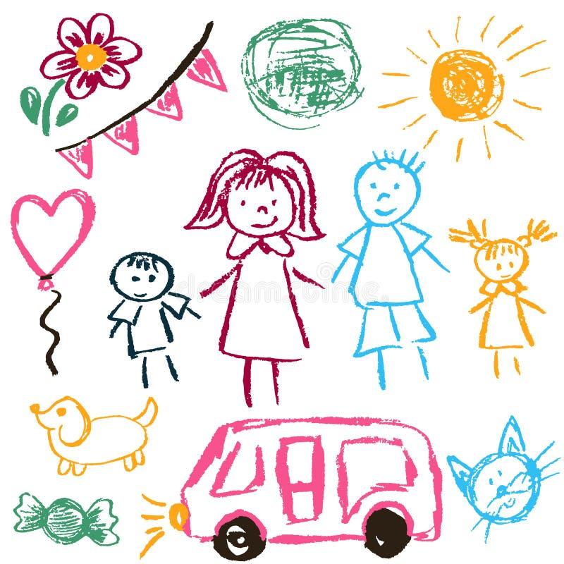 Teckningar för barn` s royaltyfri illustrationer