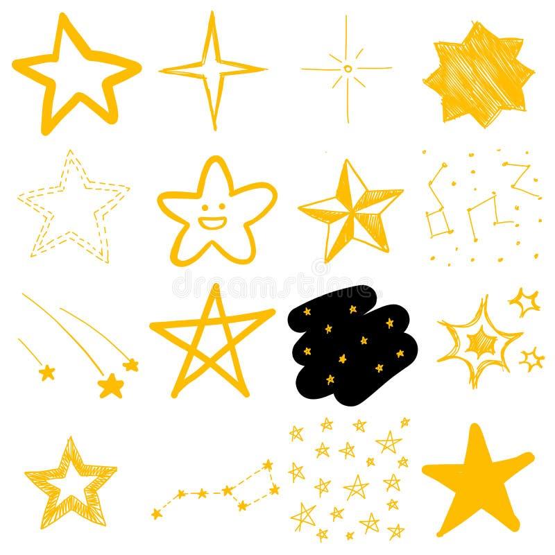 Teckningar för barn` s av stjärnor royaltyfri illustrationer