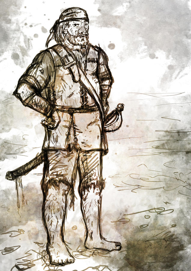 Teckningen av gammalt beväpnat piratkopierar med svärdet royaltyfri illustrationer