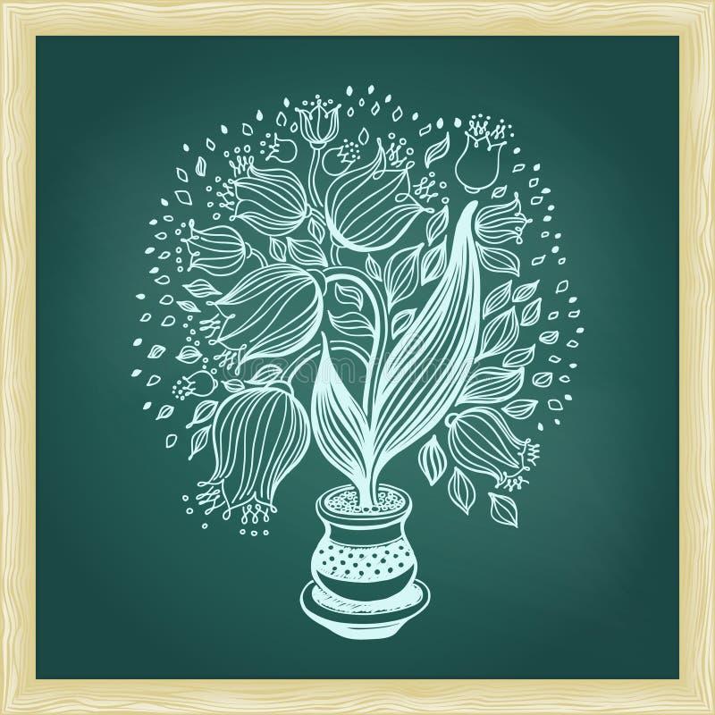Teckningen av härliga abstrakta tulpan blommar i en kruka stock illustrationer