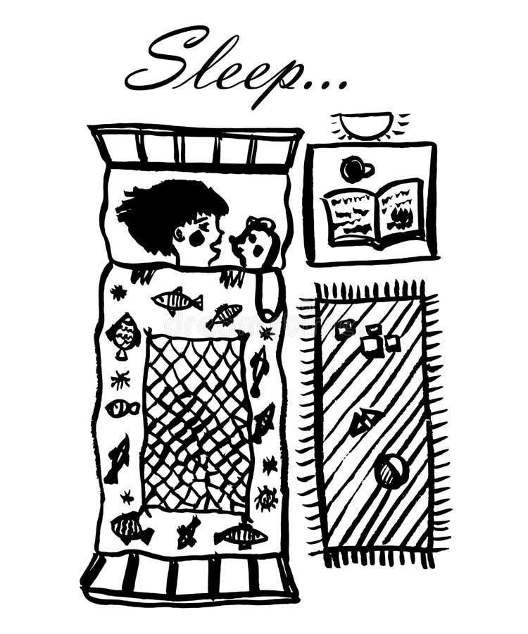 Teckningen av lite flickan som sover i hennes lathund under en filt tillsammans med en nallebjörn, skissar royaltyfri illustrationer