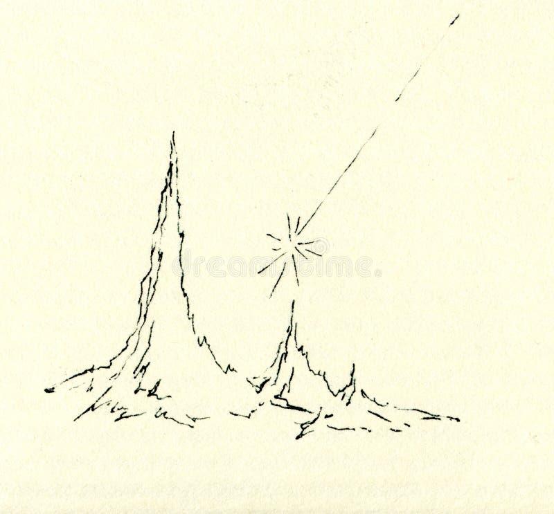 Teckningen av meteor och vaggar royaltyfri fotografi