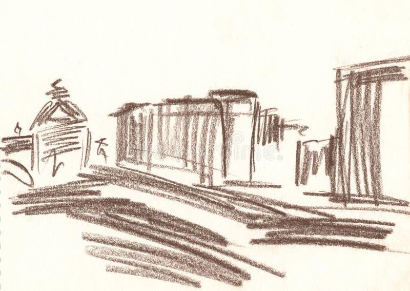 Teckningen av staden med den bruna blyertspennan, skissar stock illustrationer