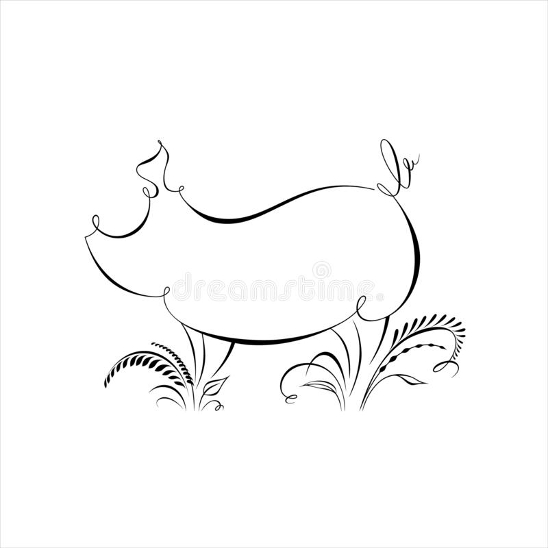 Teckningen av svinkonturn gjorde i en linje med calligraphic beståndsdelar Lyckligt kinesiskt zodiaktecken 2019 för nytt år royaltyfri illustrationer