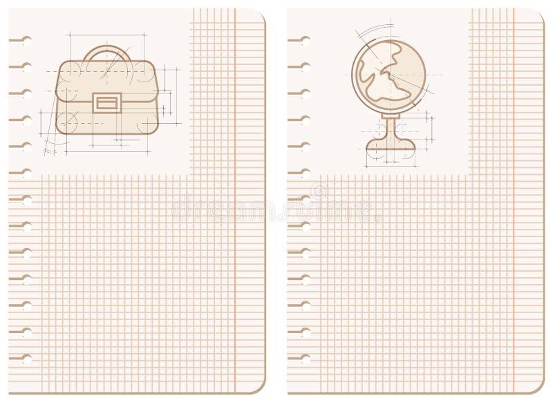 teckningsanteckningsbokark vektor illustrationer