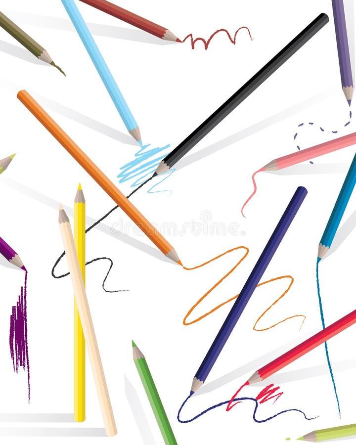 teckningsblyertspennor vektor illustrationer