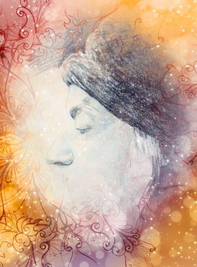Teckningscollage och prydnad, Osho, budhistic guru för zen stock illustrationer