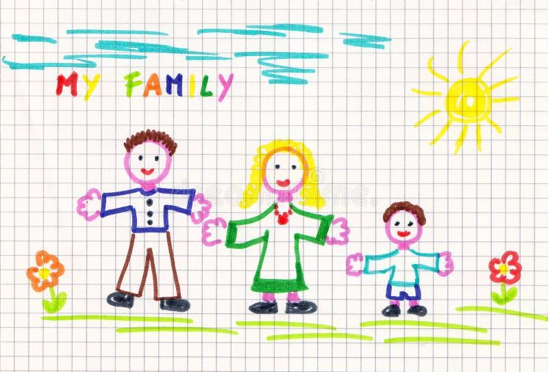 teckningsfamilj stock illustrationer
