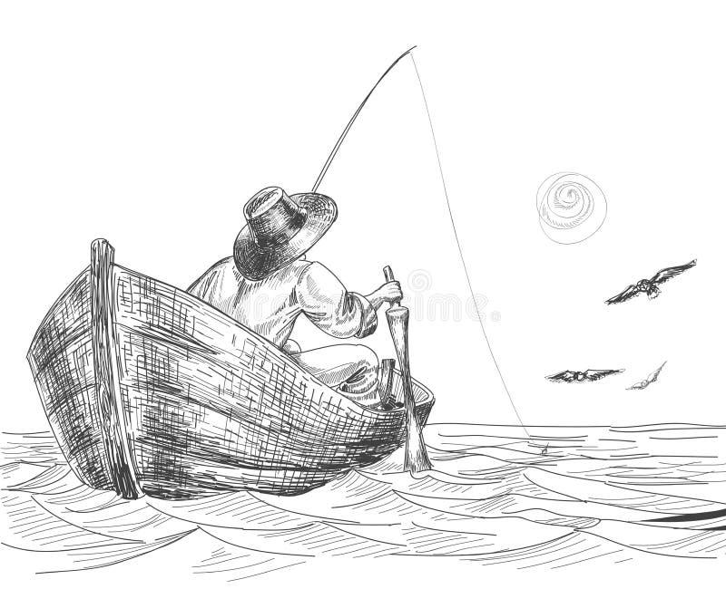 teckningsfiskare vektor illustrationer