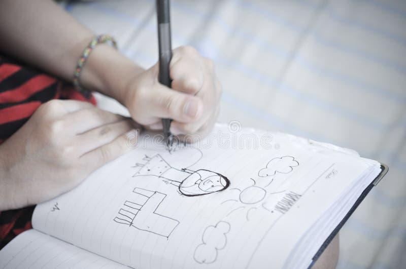 teckningsflicka fotografering för bildbyråer