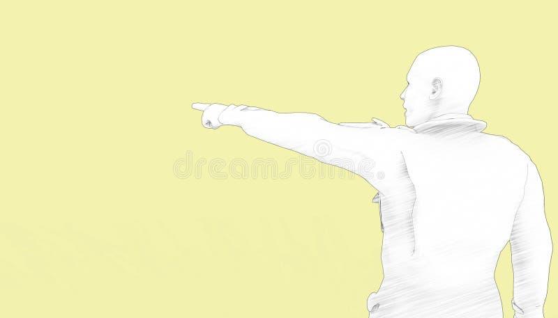 Teckningsfolk-/Person Pointing finger och gulingbakgrund vektor illustrationer