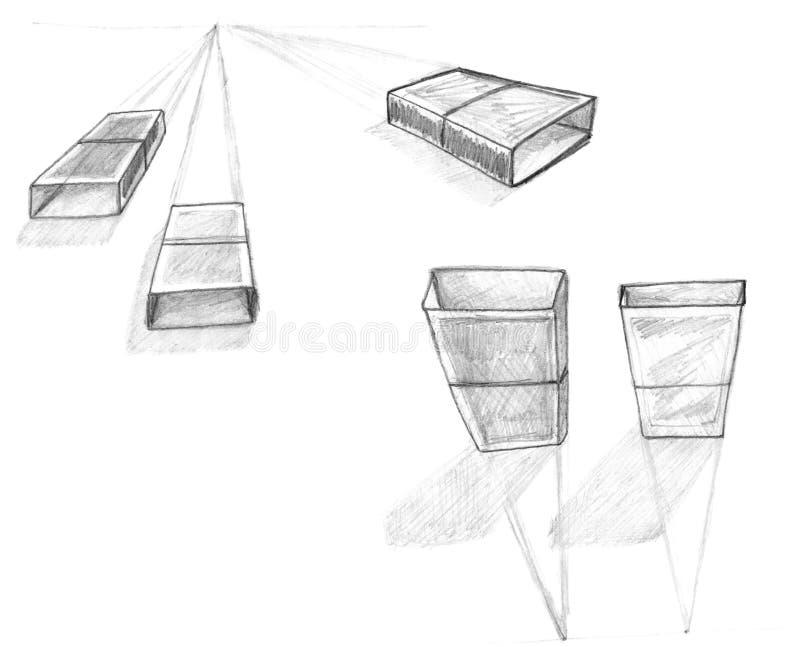 teckningsgeometriperspektiv skissar vektor illustrationer