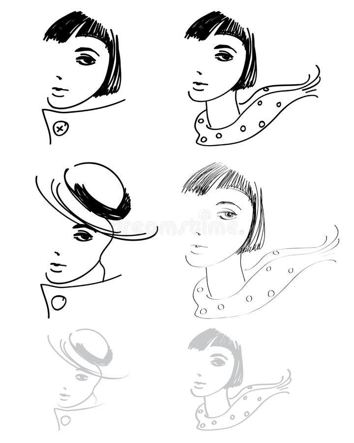 teckningshandkvinna royaltyfri illustrationer