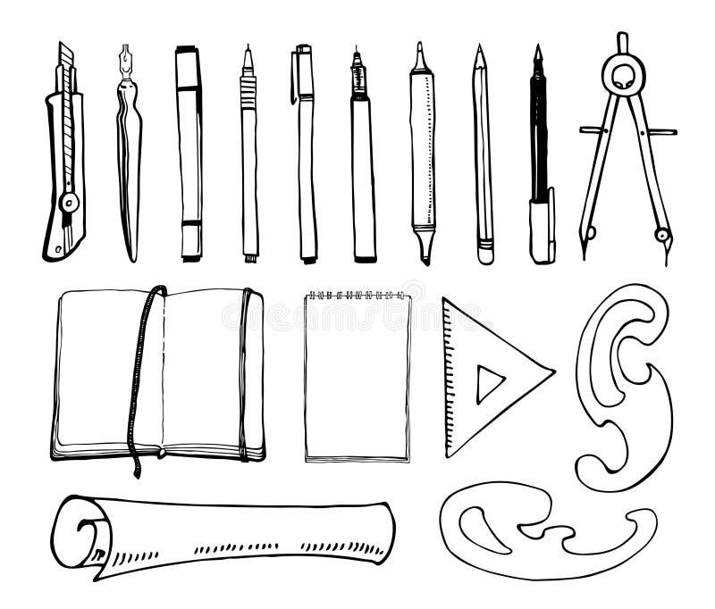 Teckningshjälpmedel Uppsättning av handen som dras för att skissa vektorkonstnärmaterial Svartvit stiliserad illustration stock illustrationer