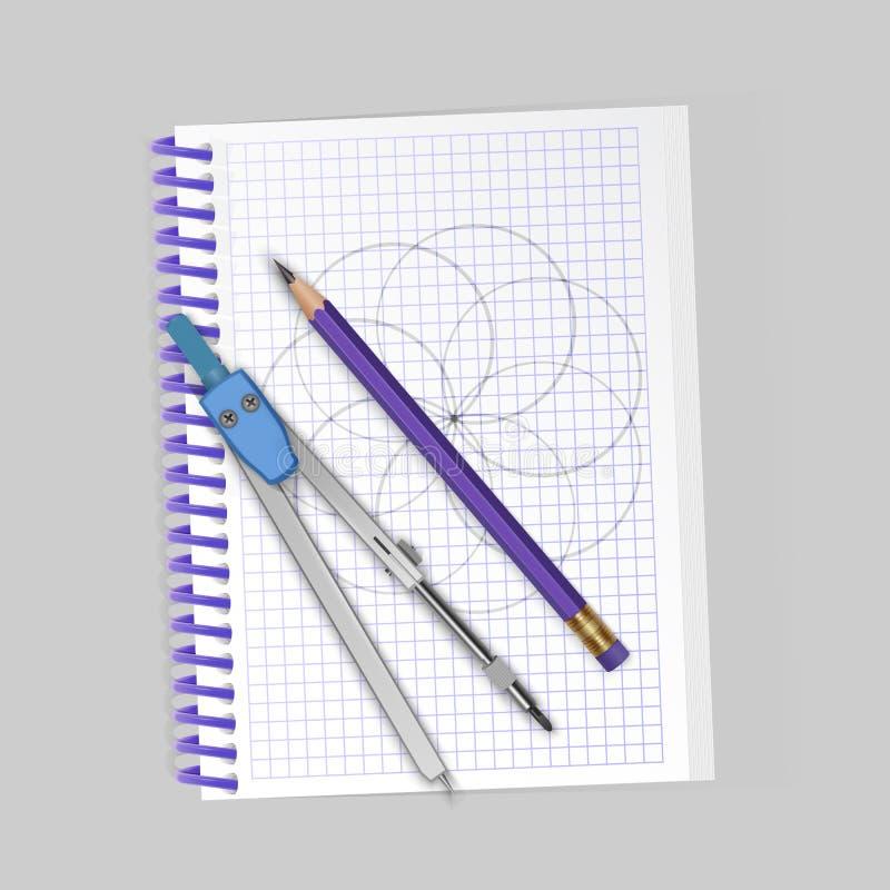 Teckningshjälpmedelsats, kompass, blyertspenna på anteckningsboken, realistiska dra hjälpmedel ocks? vektor f?r coreldrawillustra vektor illustrationer