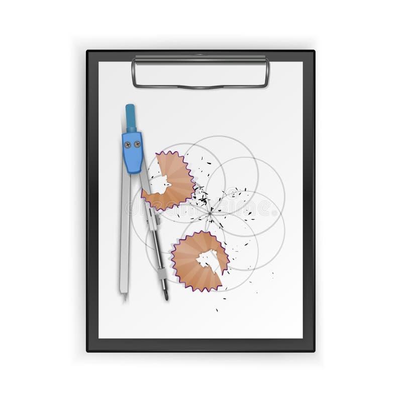 Teckningshjälpmedelsats, kompass, blyertspenna på skrivplattan, teckningshjälpmedel ocks? vektor f?r coreldrawillustration vektor illustrationer