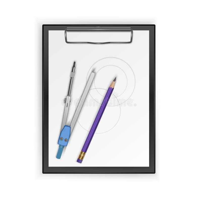 Teckningshjälpmedelsats, kompass, blyertspenna på skrivplattan, teckningshjälpmedel ocks? vektor f?r coreldrawillustration stock illustrationer