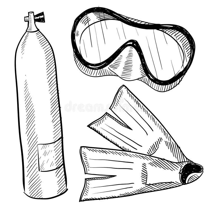 teckningskugghjulscuba vektor illustrationer