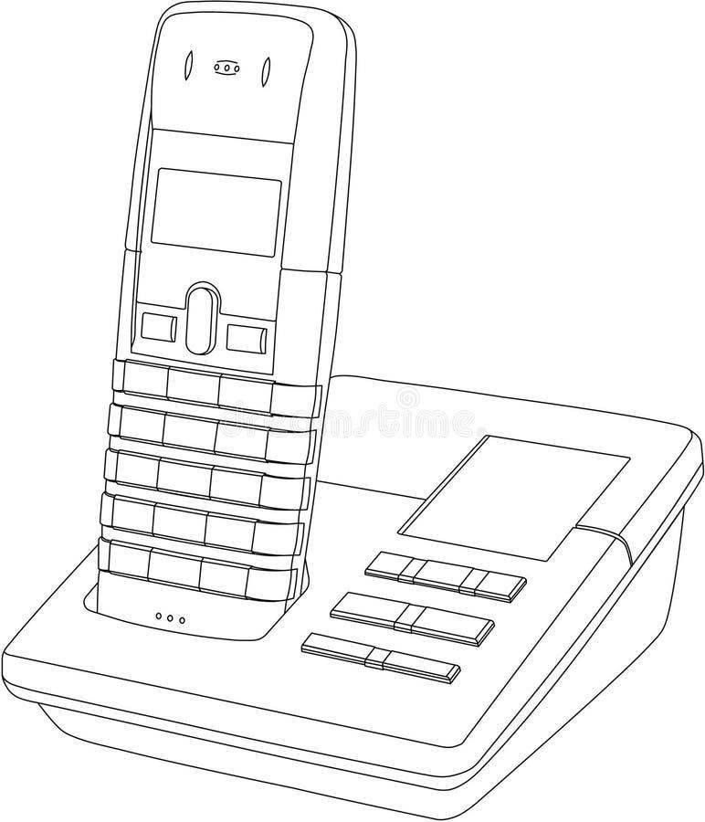 teckningslinje telefon vektor illustrationer
